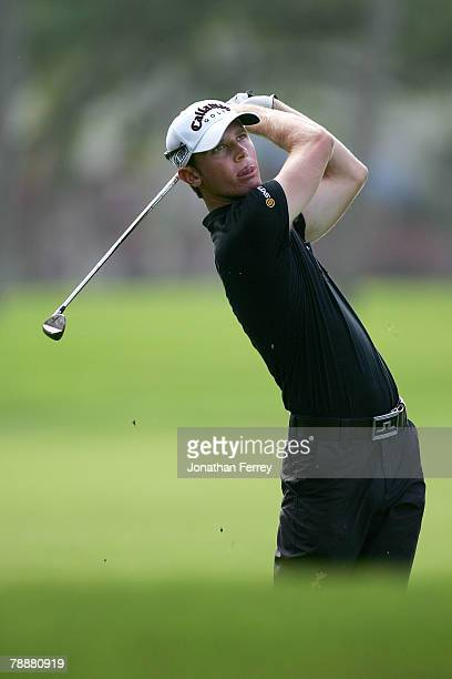Nick Flanagan of Australia hits his second shot on the 14th hole during the first round of the Sony Open at the Waialae Country Club January 10 2008...