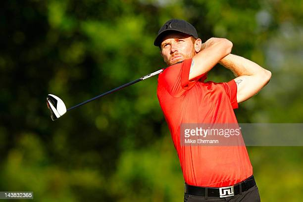 Nick Flanagan of Australia hits his tee shot on the fourth hole during the second round of the Wells Fargo Championship at the Quail Hollow Club on...