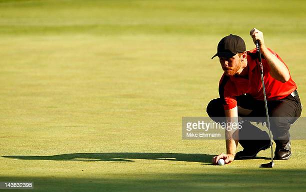 Nick Flanagan of Australia lines up his putt on the third hole during the second round of the Wells Fargo Championship at the Quail Hollow Club on...