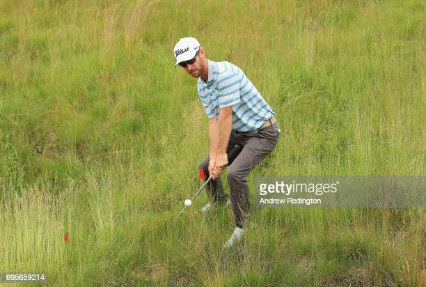 Nick Flanagan of Australia plays his shot on the 16th hole during a practice round prior to the 2017 US Open at Erin Hills on June 13 2017 in...