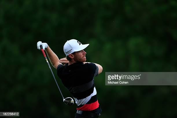 Nick Flanagan of Australia reacts to his drive on the fourth hole qduring the third round of the Webcom Tour Championship held on the Dye's Valley...