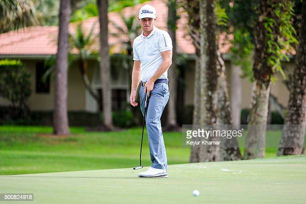 Nick Flanagan of Australia reacts to missing his putt on the ninth hole green on the Fazio Course during the first round of Webcom Tour QSchool at...