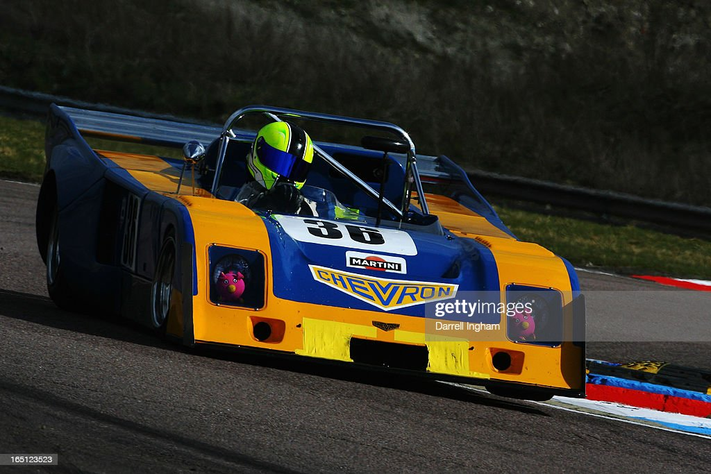 Nick Fleming drives the #36 Chevron B36 during the Martini Trophy Sportscar race at the Historic Sports Car Club Thruxton Revival Meeting at the Thruxton Circuit on March 31, 2013 near Andover, United Kingdom.
