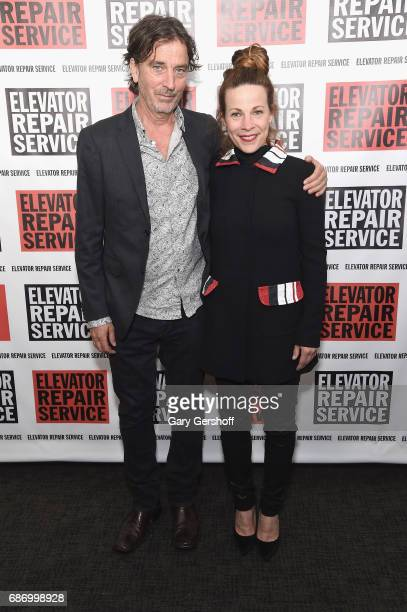 Nick Flynn and actress Lili Taylor attend the Elevator Repair Service Theater 25th Anniversary gala at Tribeca Rooftop on May 22 2017 in New York City