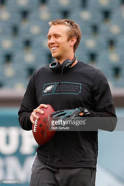 Nick Foles of the Philadelphia Eagles warms up before playing against the Washington Redskins at Lincoln Financial Field on September 21 2014 in...