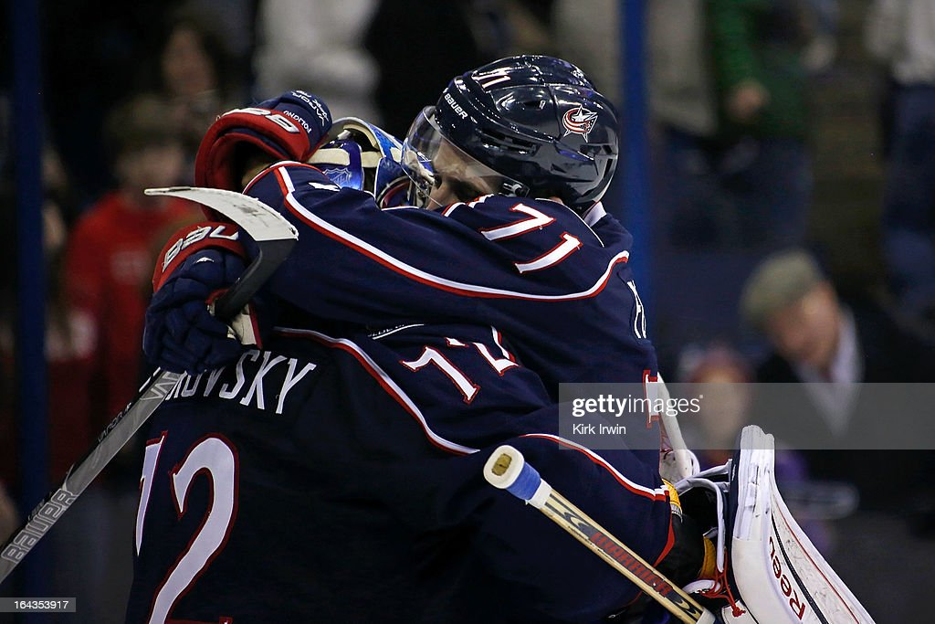 Nick Foligno #71 of the Columbus Blue Jackets congratulates Sergei Bobrovsky #72 of the Columbus Blue Jackets after defeating the Calgary Flames 5-1 on March 22, 2013 at Nationwide Arena in Columbus, Ohio.