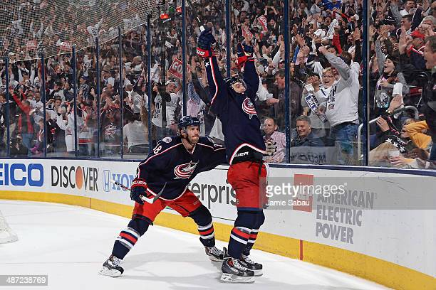 Nick Foligno of the Columbus Blue Jackets reacts after scoring a goal during the third period in Game Six of the First Round of the 2014 Stanley Cup...