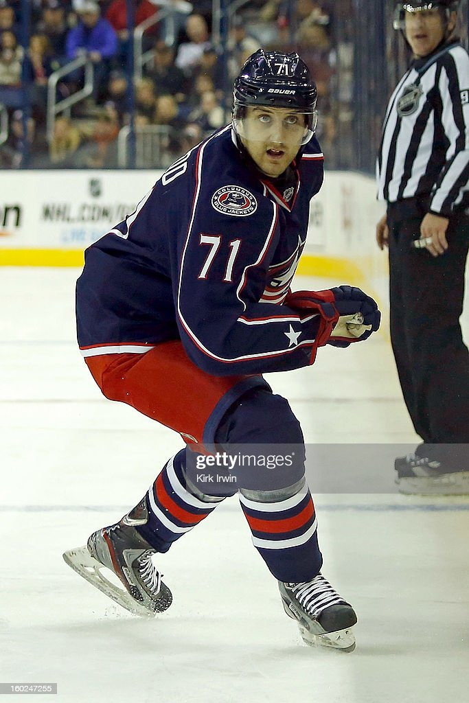 Nick Foligno #71 of the Columbus Blue Jackets skates after the puck during the game against the Chicago Blackhawks on January 26, 2013 at Nationwide Arena in Columbus, Ohio.