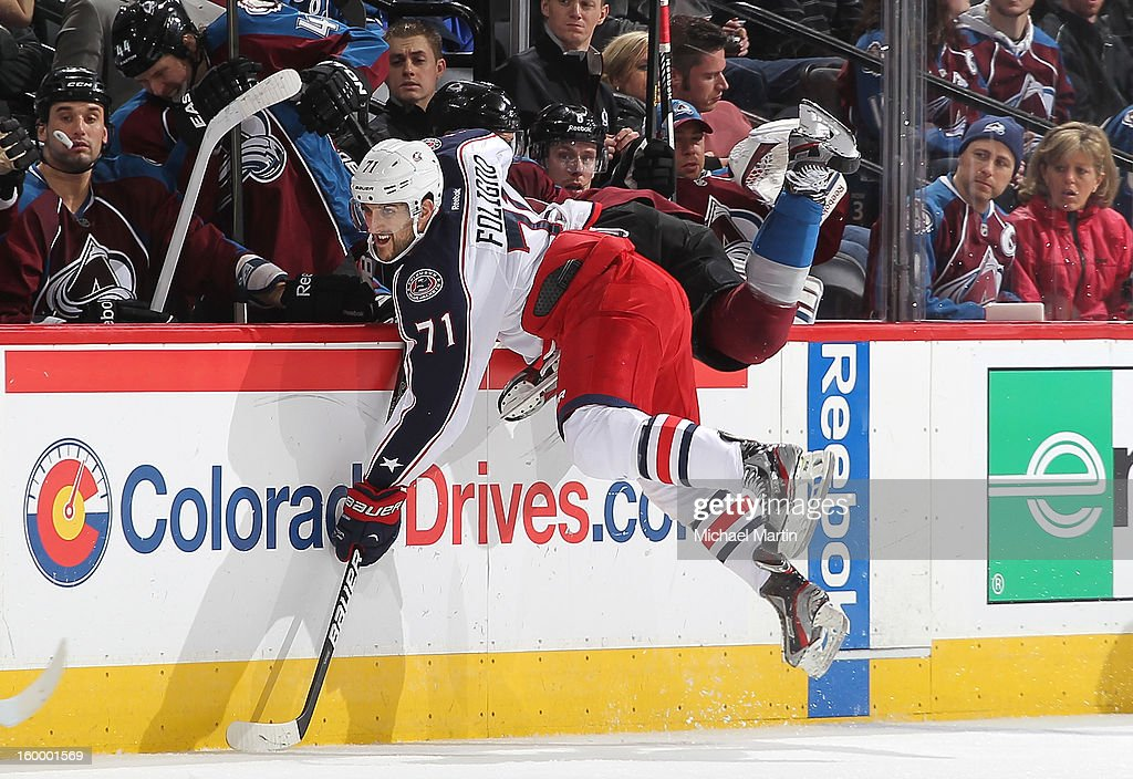 <a gi-track='captionPersonalityLinkClicked' href=/galleries/search?phrase=Nick+Foligno&family=editorial&specificpeople=537821 ng-click='$event.stopPropagation()'>Nick Foligno</a> #71 of the Columbus Blue Jackets skates against the Colorado Avalanche at the Pepsi Center on January 24, 2013 in Denver, Colorado. Colorado beat Columbus 4-0.