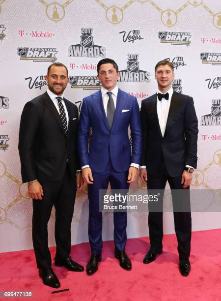 Nick Foligno Zach Werenski and Sergei Bobrovsky of the Columbus Blue Jackets attend the 2017 NHL Awards at TMobile Arena on June 21 2017 in Las Vegas...