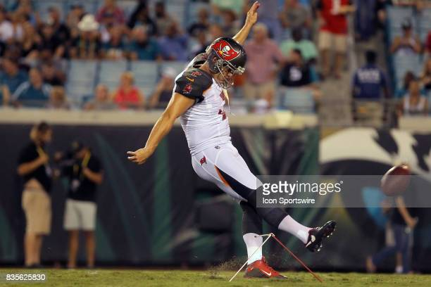 Nick Folk of the Bucs warms up at halftime during the NFL Preseason game between the Buccaneers at Jaguars on AUG 17 2017 at EverBank Field in...