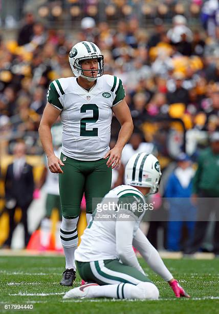 Nick Folk of the New York Jets in action during the game against the Pittsburgh Steelers on October 9 2016 at Heinz Field in Pittsburgh Pennsylvania