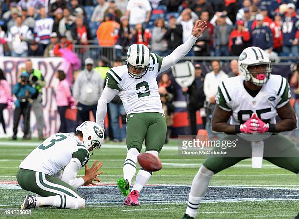 Nick Folk of the New York Jets kicks a field goal during the fourth quarter against the New England Patriots at Gillette Stadium on October 25 2015...