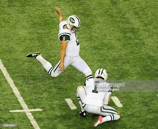 Nick Folk of the New York Jets kicks the gamewinning field goal against the Atlanta Falcons at the Georgia Dome on October 7 2013 in Atlanta Georgia