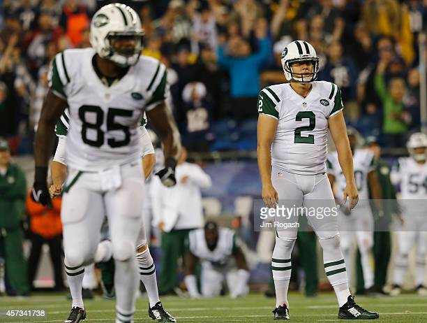 Nick Folk of the New York Jets reacts after attempting a field goal during the fourth quarter against the New England Patriots at Gillette Stadium on...