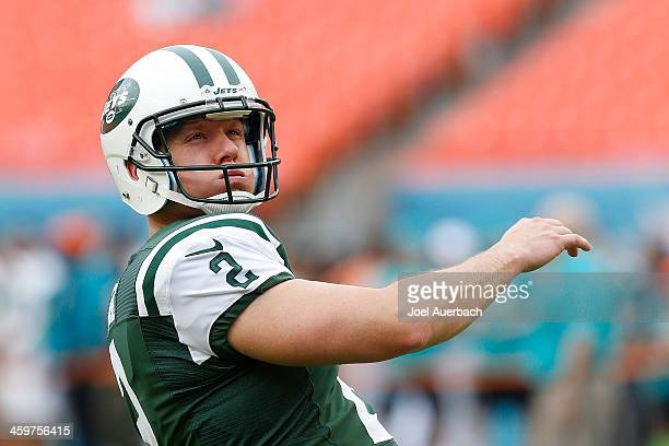 Nick Folk of the New York Jets warms up prior to the game against the Miami Dolphins on December 29 2013 at Sun Life Stadium in Miami Gardens Florida...
