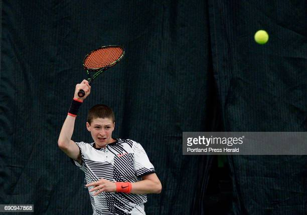 Nick Forester of Falmouth competes against Nick Mathieu of Mt Ararat in the high school tennis singles state championships Monday May 29 2017