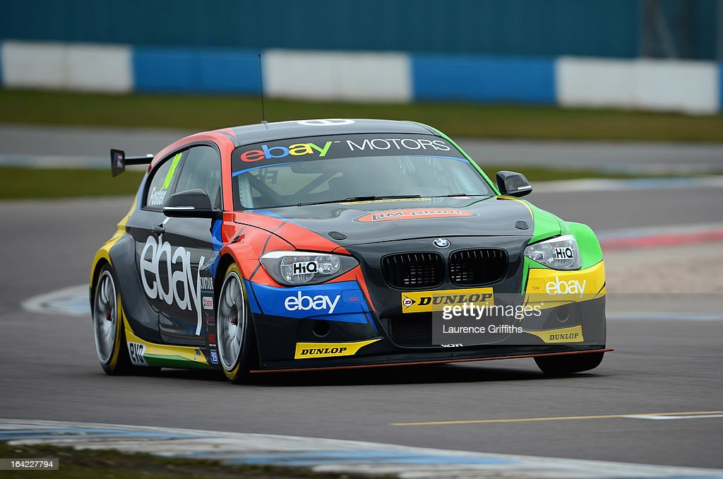 Nick Foster in the eBay Motors BMW 125i M Sort in action during the BTCC Media Day at Donington Park on March 21, 2013 in Castle Donington, England.