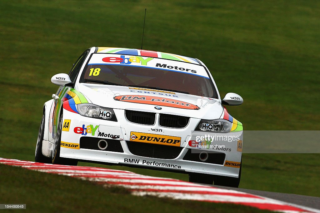 Nick Foster of Great Britain drives the #18 eBay Motors BMW 320si during practice for the Dunlop MSA British Touring Car Championship race at the Brands Hatch Circuit on October 20, 2012 near Longfield, United Kingdom.