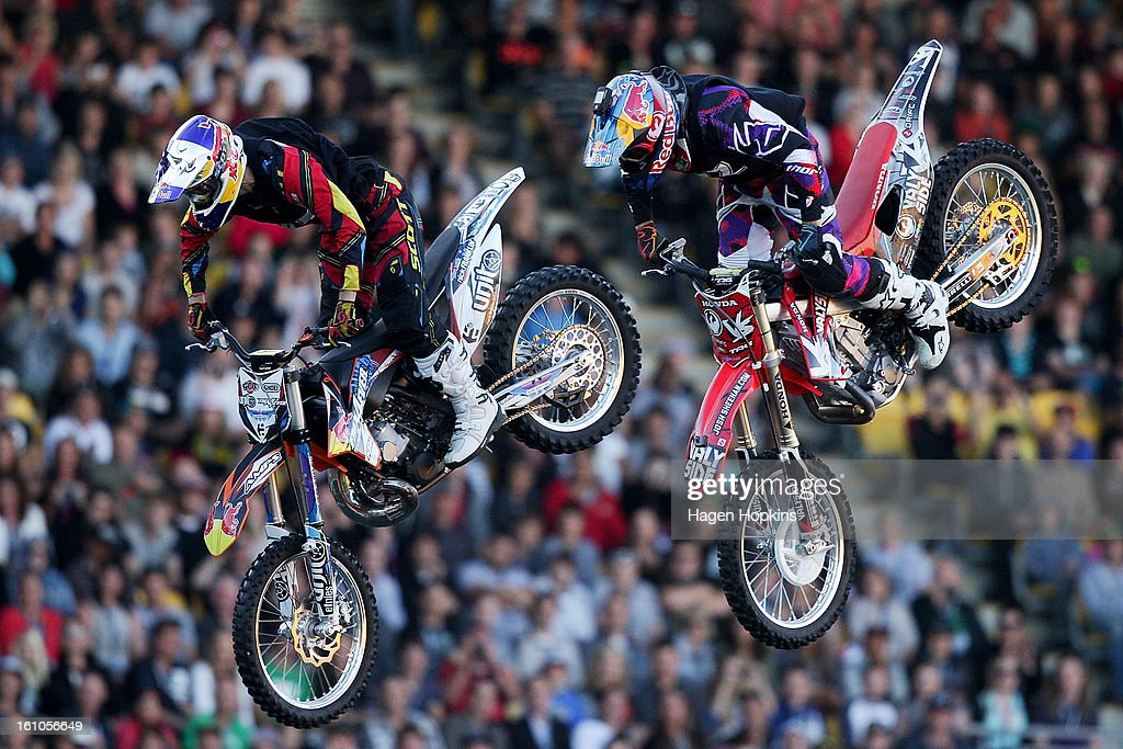 Nick Franklin (L) and Josh Sheehan perform during Nitro Circus Live at Westpac Stadium on February 9, 2013 in Wellington, New Zealand.