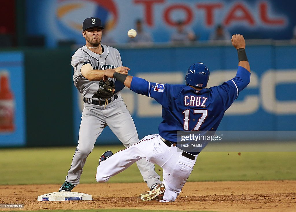 Nick Franklin #20 of the Seattle Mariners makes the out against Nelson Cruz #17 of the Texas Rangers and makes the double play at first base at Rangers Ballpark in Arlington on July 2, 2013 in Arlington, Texas.