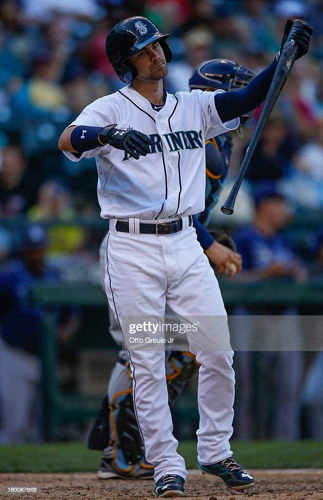 <a gi-track='captionPersonalityLinkClicked' href=/galleries/search?phrase=Nick+Franklin&family=editorial&specificpeople=3092191 ng-click='$event.stopPropagation()'>Nick Franklin</a> #20 of the Seattle Mariners strikes out for the final out against the Tampa Bay Rays at Safeco Field on September 8, 2013 in Seattle, Washington. The Rays defeated the Mariners 4-1.