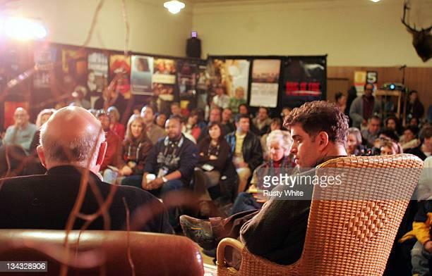 Nick Fraser and Eugene Jarecki during 2005 Sundance Film Festival 'The World is Watching' at Filmmaker's Lodge in Park City Utah United States