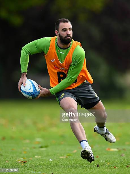 Nick Frisby of Australia looks for a pass during an Australia training session at The Lensbury Hotel on October 6 2016 in London United Kingdom