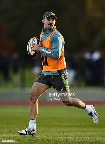 Nick Frisby of Australia looks for a pass during an Australia training session at Harrow School on November 28 2016 in London United Kingdom