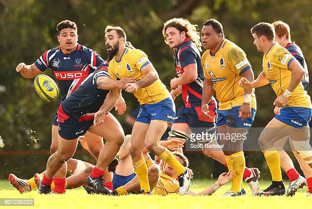 Nick Frisby of Brisbane City passes the ball during the round four NRC match between Melbourne Rising and Brisbane City at Harlequins Oval on...