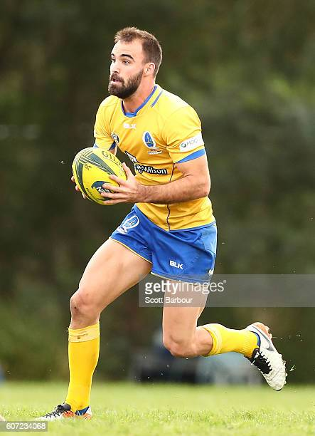 Nick Frisby of Brisbane City runs with the ball during the round four NRC match between Melbourne Rising and Brisbane City at Harlequins Oval on...