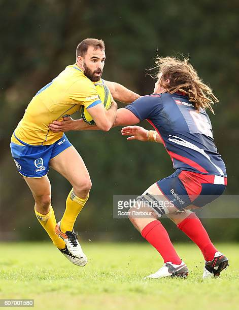 Nick Frisby of City is tackled during the round four NRC match between Melbourne Rising and Brisbane City at Harlequins Oval on September 17 2016 in...
