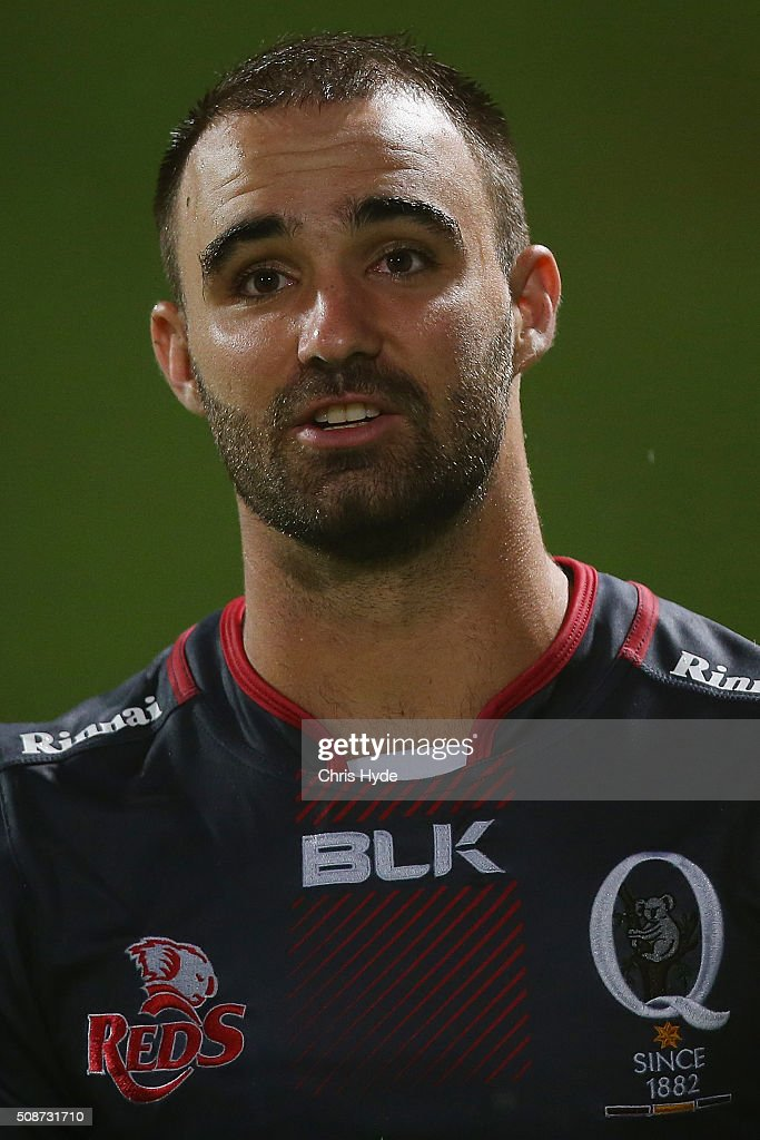 Nick Frisby of the Reds looks on during the Super Rugby pre-season match between the Reds and the Crusaders at Ballymore Stadium on February 6, 2016 in Brisbane, Australia.