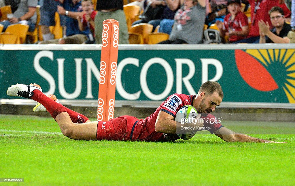 Nick Frisby of the Reds scores a try during the round 10 Super Rugby match between the Reds and the Cheetahs at Suncorp Stadium on April 30, 2016 in Brisbane, Australia.