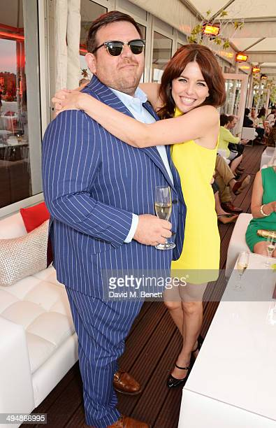 Nick Frost and Ophelia Lovibond attend day one of the Audi Polo Challenge at Coworth Park Polo Club on May 31 2014 in Ascot England