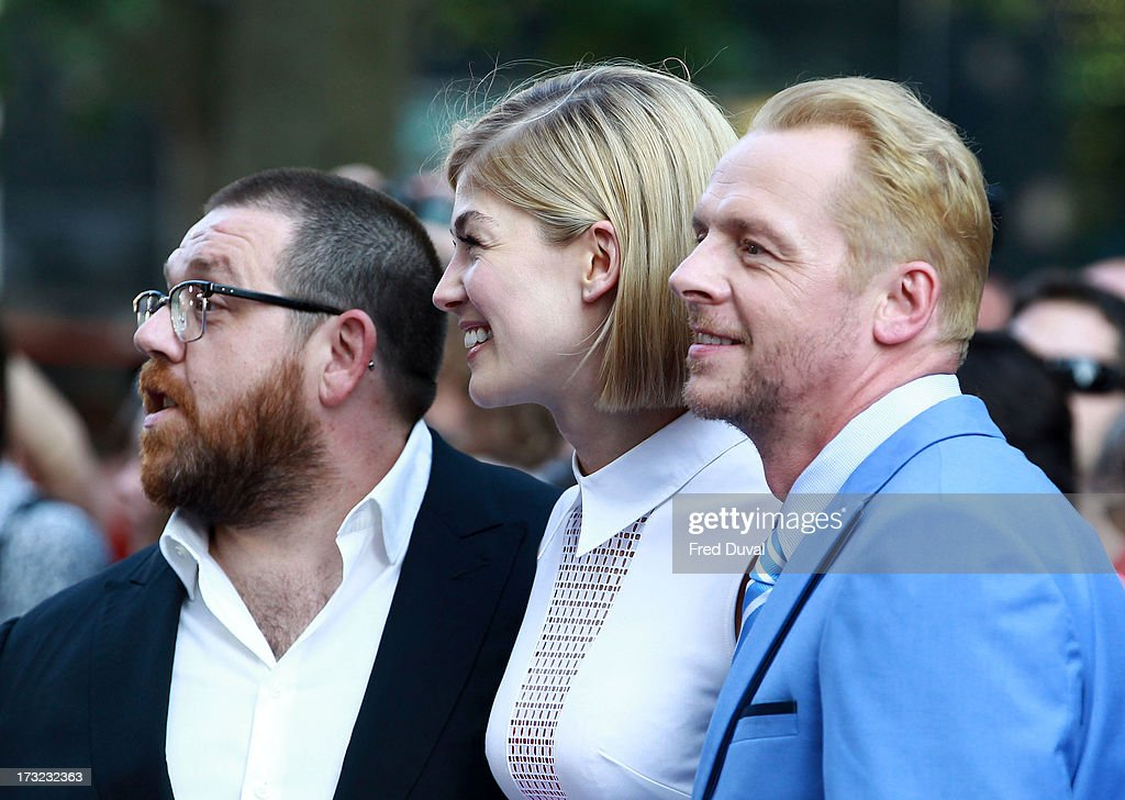 Nick Frost, <a gi-track='captionPersonalityLinkClicked' href=/galleries/search?phrase=Rosamund+Pike&family=editorial&specificpeople=208910 ng-click='$event.stopPropagation()'>Rosamund Pike</a> and <a gi-track='captionPersonalityLinkClicked' href=/galleries/search?phrase=Simon+Pegg&family=editorial&specificpeople=206280 ng-click='$event.stopPropagation()'>Simon Pegg</a> attend the World film Premiere of 'The World's End' at The Empire Cinema on July 10, 2013 in London, England.