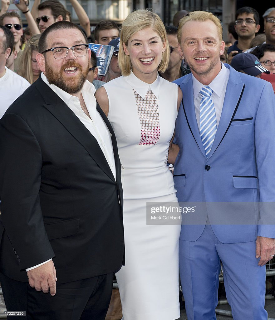 Nick Frost, <a gi-track='captionPersonalityLinkClicked' href=/galleries/search?phrase=Rosamund+Pike&family=editorial&specificpeople=208910 ng-click='$event.stopPropagation()'>Rosamund Pike</a> and <a gi-track='captionPersonalityLinkClicked' href=/galleries/search?phrase=Simon+Pegg&family=editorial&specificpeople=206280 ng-click='$event.stopPropagation()'>Simon Pegg</a> attend the World Premiere of 'The World's End' at Empire Leicester Square on July 10, 2013 in London, England.