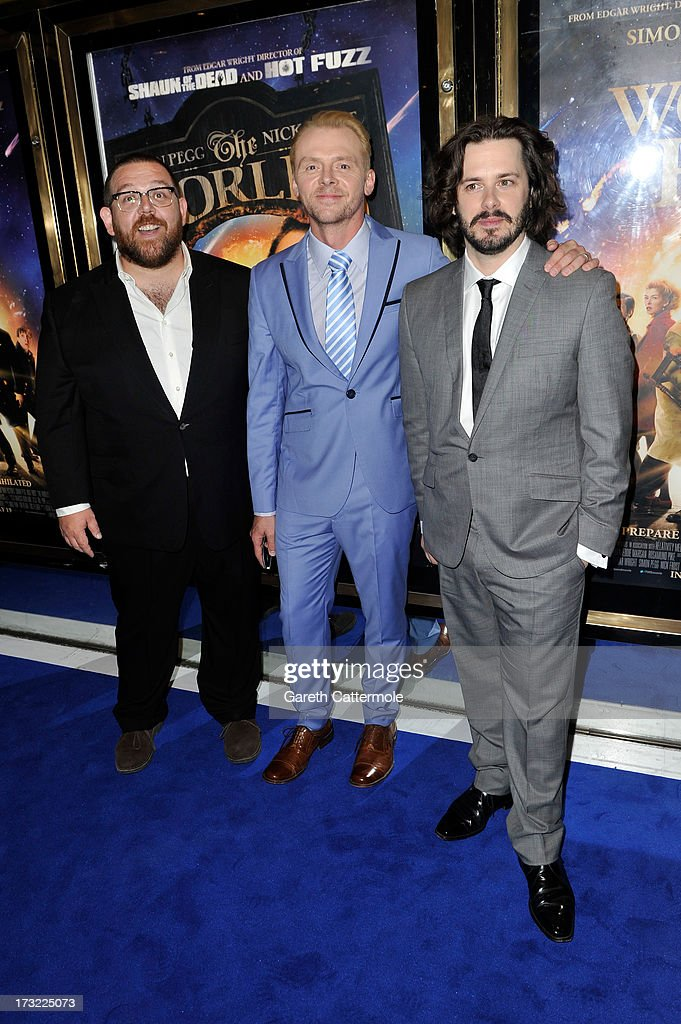 Nick Frost, <a gi-track='captionPersonalityLinkClicked' href=/galleries/search?phrase=Simon+Pegg&family=editorial&specificpeople=206280 ng-click='$event.stopPropagation()'>Simon Pegg</a> and Director <a gi-track='captionPersonalityLinkClicked' href=/galleries/search?phrase=Edgar+Wright&family=editorial&specificpeople=2194043 ng-click='$event.stopPropagation()'>Edgar Wright</a> attend the World Premiere of The World's End at Empire Leicester Square on July 10, 2013 in London, England.