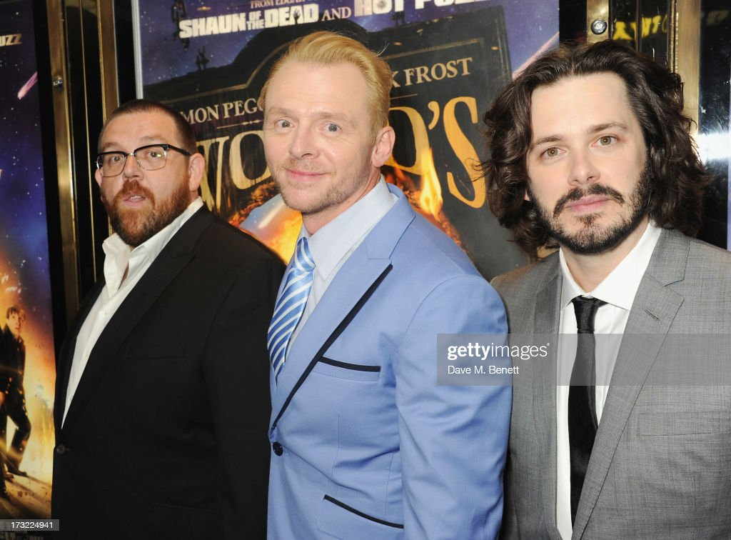 Nick Frost, Simon Pegg and Edgar Wright attend the World Premiere of 'The World's End' at Empire Leicester Square on July 10, 2013 in London, England.
