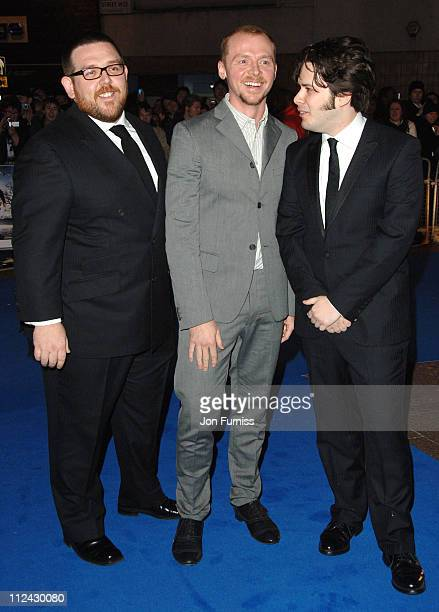 Nick Frost Simon Pegg and Edgar Wright director during 'Hot Fuzz' London Premiere Inside Arrivals at Vue West End in London United Kingdom