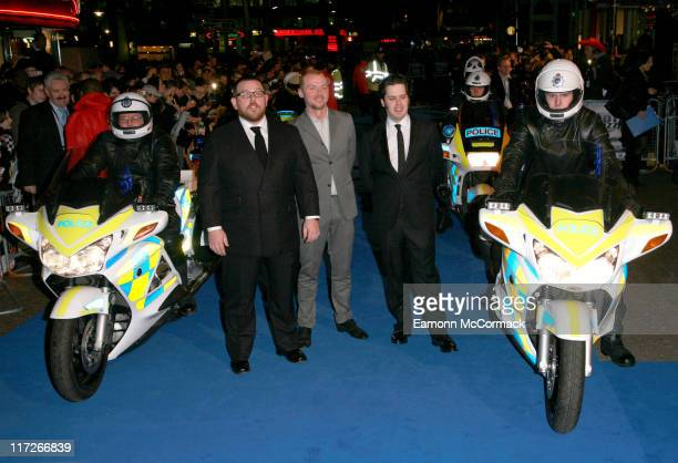Nick Frost Simon Pegg and Edgar Wright during Hot Fuzz London Premiere Outside Arrivals at Vue West End in London Great Britain