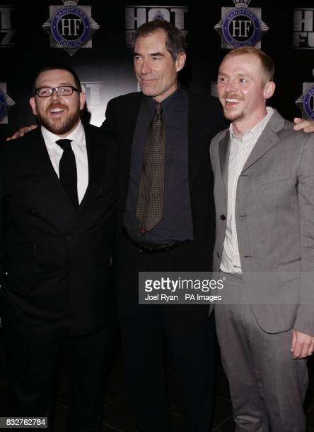 Nick Frost Timothy Dalton and Simon Pegg arrive for the World Premiere of Hot Fuzz at the Vue West End in Leicester Square central London
