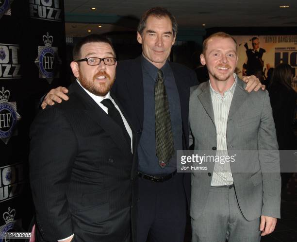 Nick Frost Timothy Dalton and Simon Pegg during 'Hot Fuzz' London Premiere Inside Arrivals at Vue West End in London United Kingdom