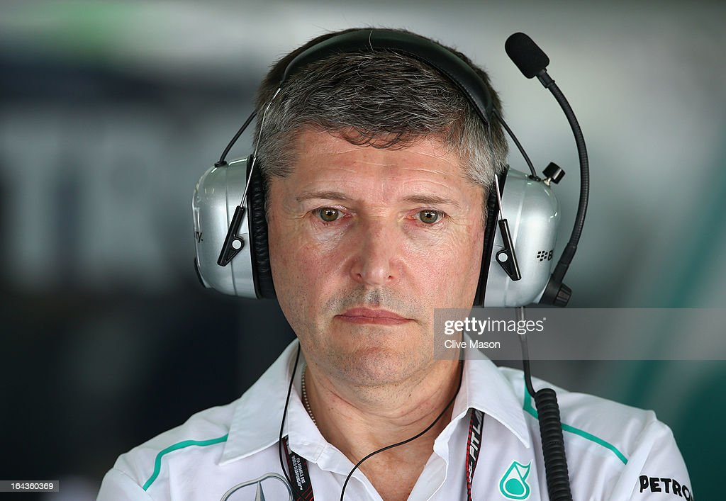 Nick Fry the Chief Executive Officer of Mercedes GP watches the timing screens during the final practice session prior to qualifying for the Malaysian Formula One Grand Prix at the Sepang Circuit on March 23, 2013 in Kuala Lumpur, Malaysia.