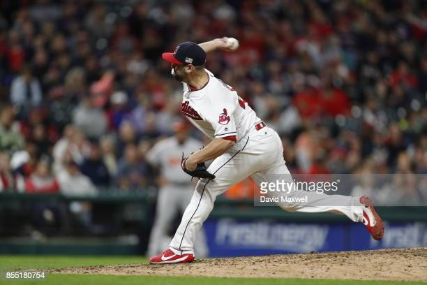 Nick Goody of the Cleveland Indians pitches against the Baltimore Orioles in the eighth inning at Progressive Field on September 10 2017 in Cleveland...