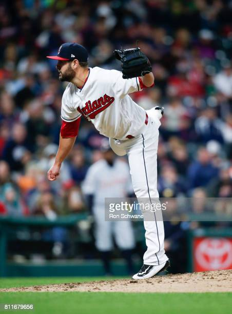 Nick Goody of the Cleveland Indians pitches against the Detroit Tigers during the sixth inning at Progressive Field on April 14 2017 in Cleveland Ohio