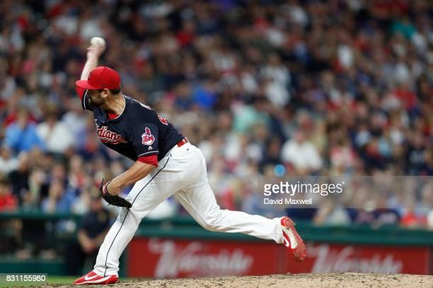 Nick Goody of the Cleveland Indians pitches against the New York Yankees in the ninth inning at Progressive Field on August 5 2017 in Cleveland Ohio...