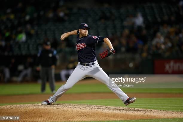 Nick Goody of the Cleveland Indians pitches during the game against the Oakland Athletics at the Oakland Alameda Coliseum on July 14 2017 in Oakland...