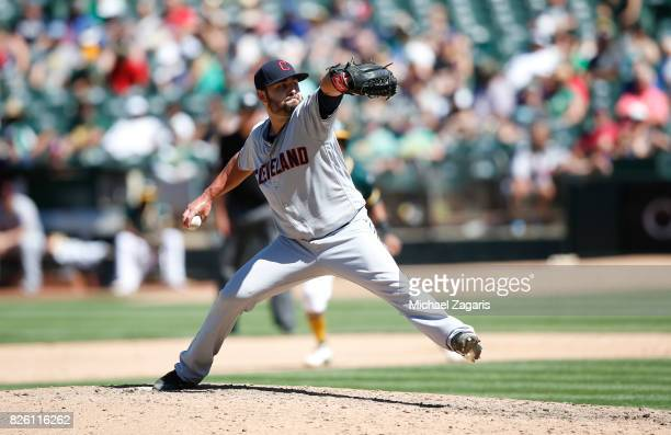 Nick Goody of the Cleveland Indians pitches during the game against the Oakland Athletics at the Oakland Alameda Coliseum on July 16 2017 in Oakland...