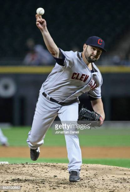 Nick Goody of the Cleveland Indians pitches in the 1st inning against the Chicago White Sox at Guaranteed Rate Field on September 5 2017 in Chicago...